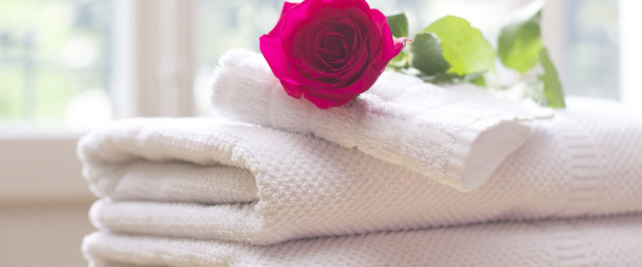 An image showing folded white towels with a single red rose placed on top of the pile of towels hired from Queens Drive Laundry