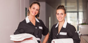 An image of clean work wear, laundered by Queens Drive Laundry.