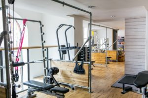 a gym with gym equipment