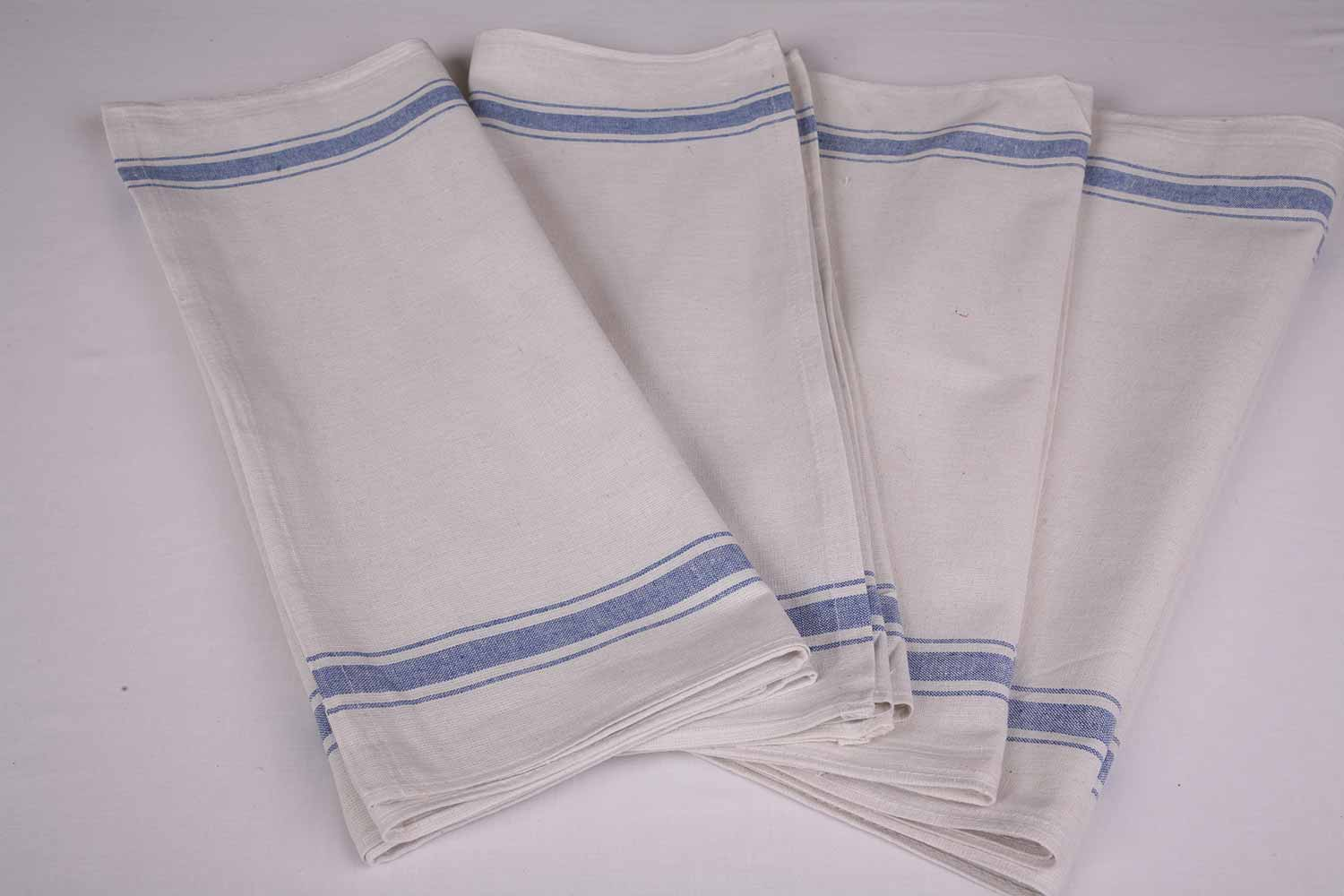 An image of three blue and white tea towels, available for purchase from Queens Drive Laundry.